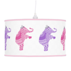Cute Princess Whimsical Elephants Pink and Purple Ceiling Lamps
