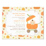 Cute Pumpkin Stroller Fall Baby Shower Invitations