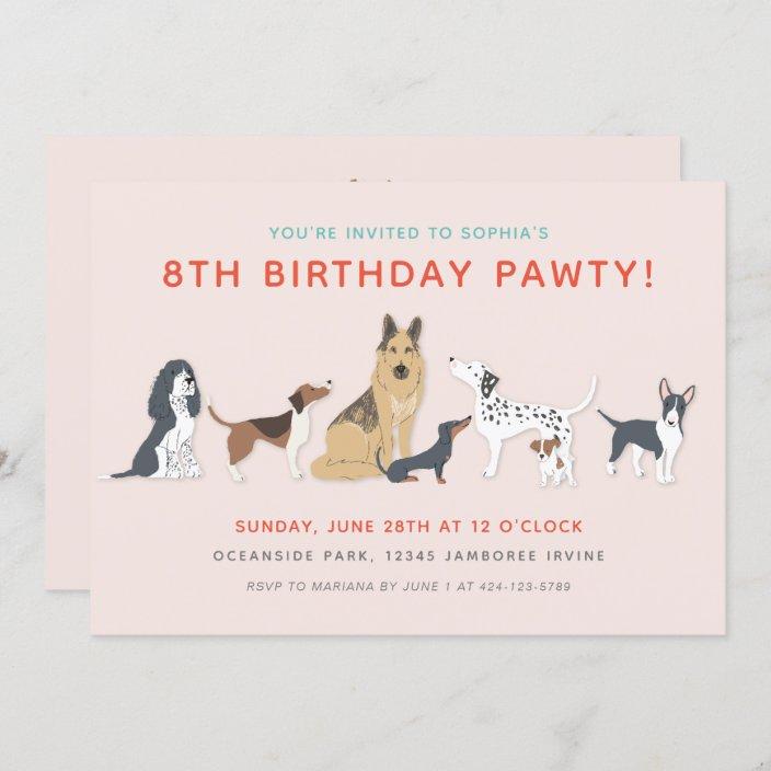 cute puppies children s dog birthday party invitation zazzle com