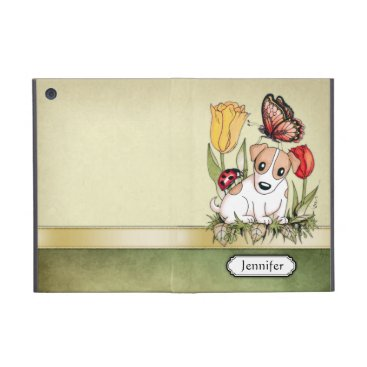 Cute Puppy with Butterfly, Ladybug and Tulips iPad Mini Cover