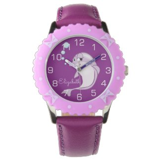 Cute Purple Dolphin Personalized Watch