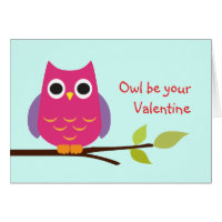 Cute purple owl be your valentine adorable card