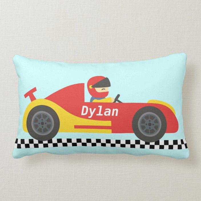 cute race car for boys lumbar pillow zazzle com