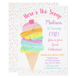 ❤️ Cute Rainbow Ice Cream Birthday Invitation