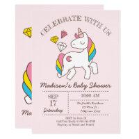 Cute Rainbow Unicorn And Diamonds Baby Shower Card