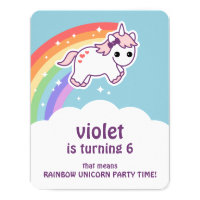 Cute Rainbow Unicorn Birthday Party Invitations