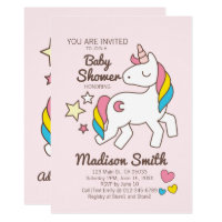 Cute Rainbow Unicorn Stars and Hearts Baby Shower Card