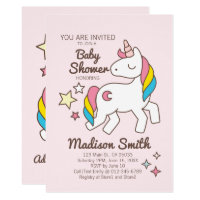 Cute Rainbow Unicorn Stars and Sparkle Baby Shower Card