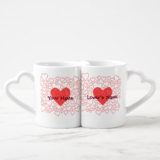 Cute Red Heart Personalized Lover's Mug Set Lovers Mug Sets