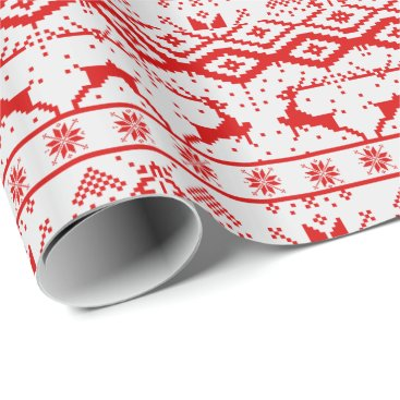 Cute Red Reindeer And Snowflakes Wrapping Paper