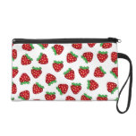 Cute Red Strawberries Pattern White Background Wristlet Purse