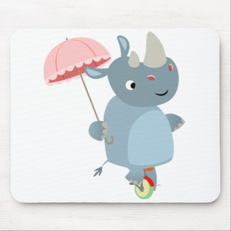 Cute Rhino with Umbrella on Unicycle Mousepad mousepad