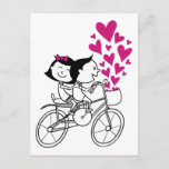 Cute romantic Valentines day couple on bike Holiday Postcard