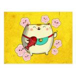 ❤️ Cute Round Maneki Neko Cat Postcard