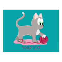 Cute silver kitten postcard