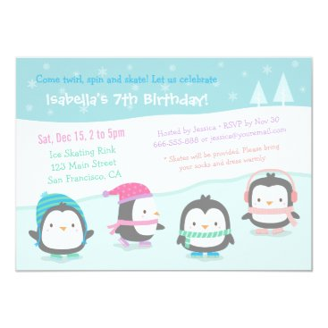 Cute Skating Penguins Birthday Party Invitations
