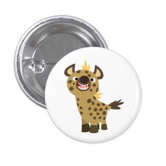 Cute Smiling Cartoon Hyena Button Badge