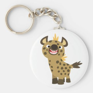 Cute Smiling Cartoon Hyena Keychain