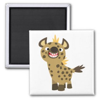 Cute Smiling Cartoon Hyena Magnet