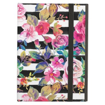 Cute spring floral and stripes watercolor pattern iPad air case