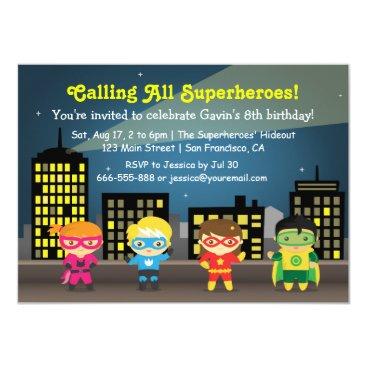 Cute Superhero Kids Birthday Party Invitations