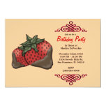 CUTE Sweet Red Strawberries With Red Border Birthd Invitation