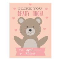 Cute Teddy Bear Classroom Valentine Postcard