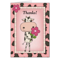 Cute Thank You - Cow & Flower Card