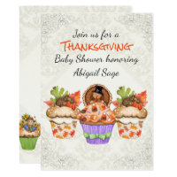 Cute Thanksgiving Cupcakes Baby Shower Invitation