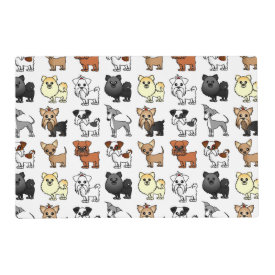 Cute Toy Dog Breed Pattern Laminated Place Mat