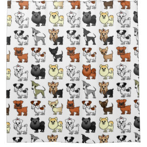 Cute Toy Dog Breed Pattern Shower Curtain