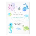Cute under the sea watercolor Birthday Invitation