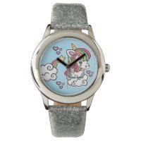 Cute Unicorn kids glitter watch