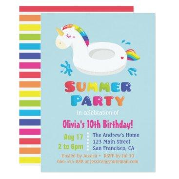 Cute Unicorn Pool Float Kids Summer Birthday Party Invitation