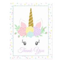 Cute Unicorn Thank You Card Postcards