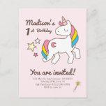 ❤️ Cute Unicorn  Wand & Stars Birthday Invitation