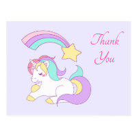 Cute Unicorn with Colorful Shooting Star Thank You Postcard