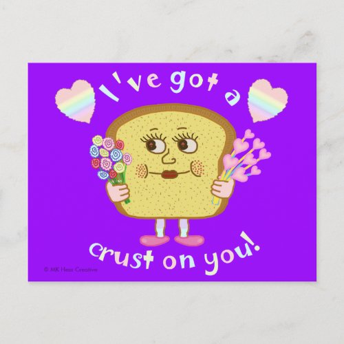 Cute Valentine's Day Bread Pun Kids Classroom Holiday Postcard