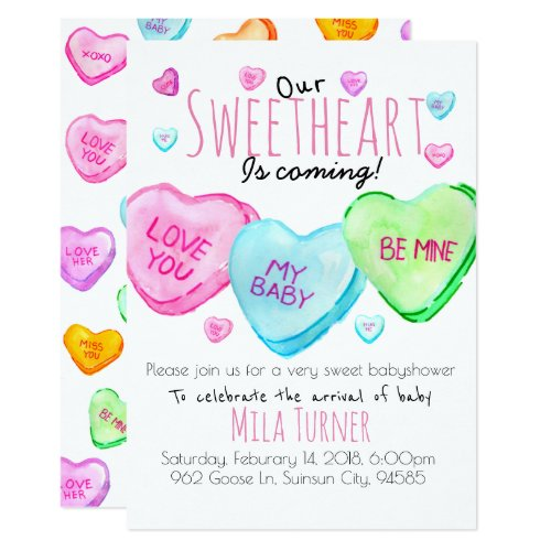 Cute Valentines Day candy heart baby shower invite