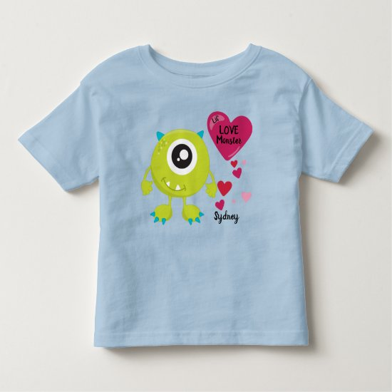 Cute Valentine's Love Monster with Hearts | Silly Toddler T-shirt
