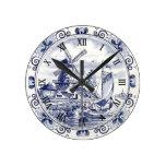 Cute Vintage Dutch Windmill Sailboat Delft Blue Round Clock