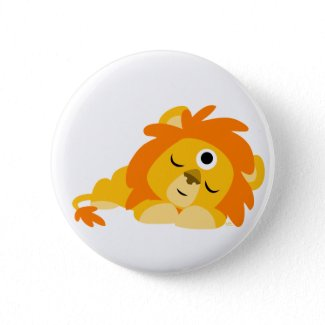 Cute Watchful Cartoon Lion button badge button