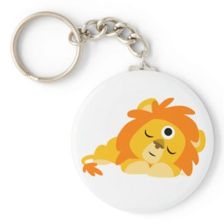 Cute Watchful Cartoon Lion keyring keychain