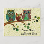Cute Whimsical Owls Change of Address Announcement Postcard
