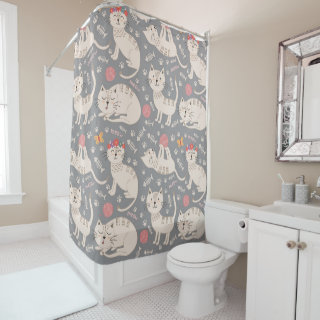 Cute White Cats on Gray Shower Curtain