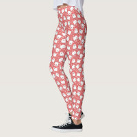 Cute White Pomeranians Pattern Leggings