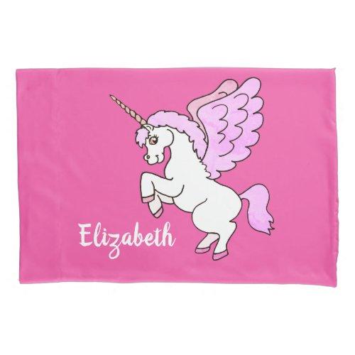 Cute White Unicorn Darker Hot Pink Personalize Pillow Case