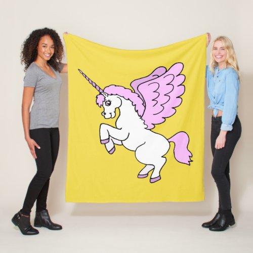 Cute White Unicorn Yellow Fleece Blanket