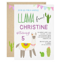 Cute Whole Llama Fun Kids Birthday Invitation