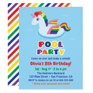 Cute Winged Unicorn Pool Float Kids Birthday Party Invitation